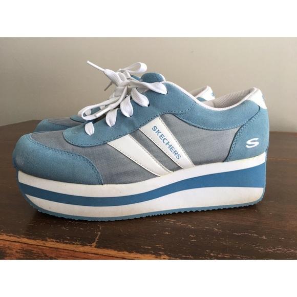 VTG 90S STYLE Skechers Somethin' Else Platform Sneakers 9.5 White Slip on bling